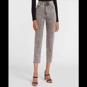 EXPRESS Super High Waisted Black Wash Mom Jeans